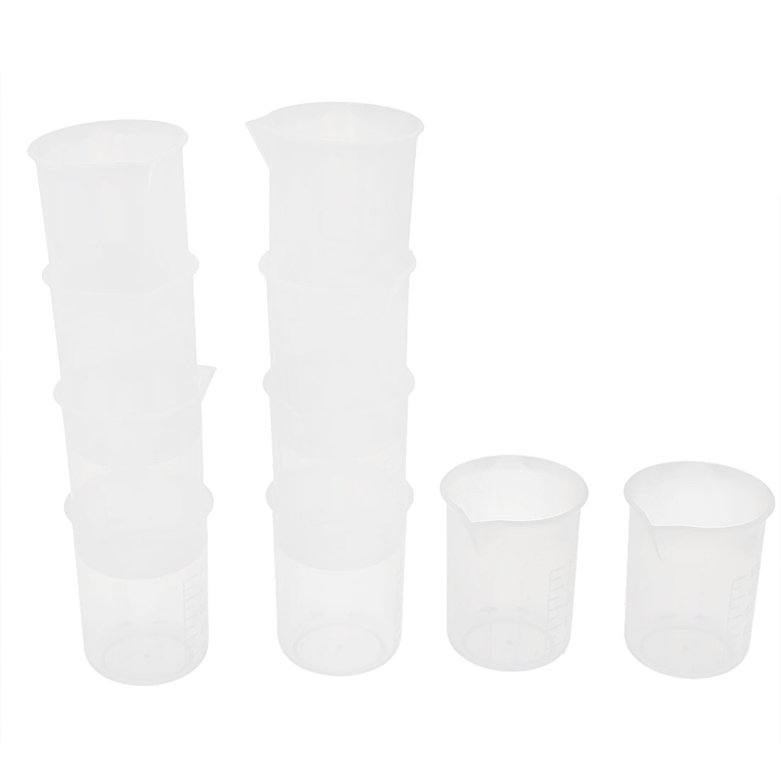 10pcs 50mL 1.7oZ Plastic Graduated Liquid Measuring Beaker Testing Cup for Lab Kitchen