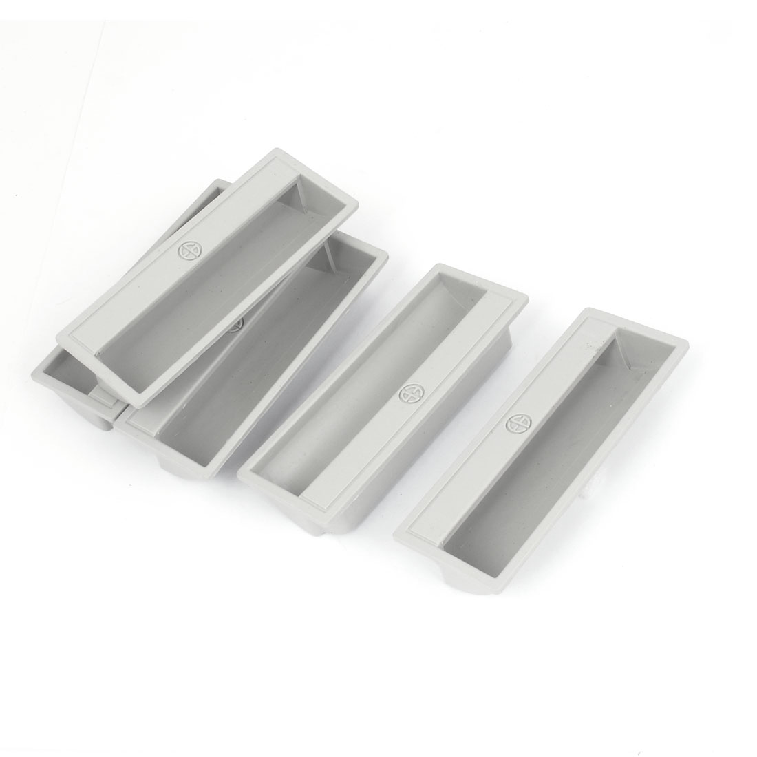5pcs Gray Plastic Rectangular Drawer Cabinet Door Finger Insert Recessed Flush Pull Handle