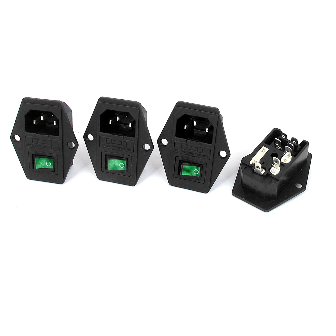 AC 250V 15A IEC320 C14 Inlet Power Socket Green Lamp Solder Rocker Switch Fuse Holder 4pcs