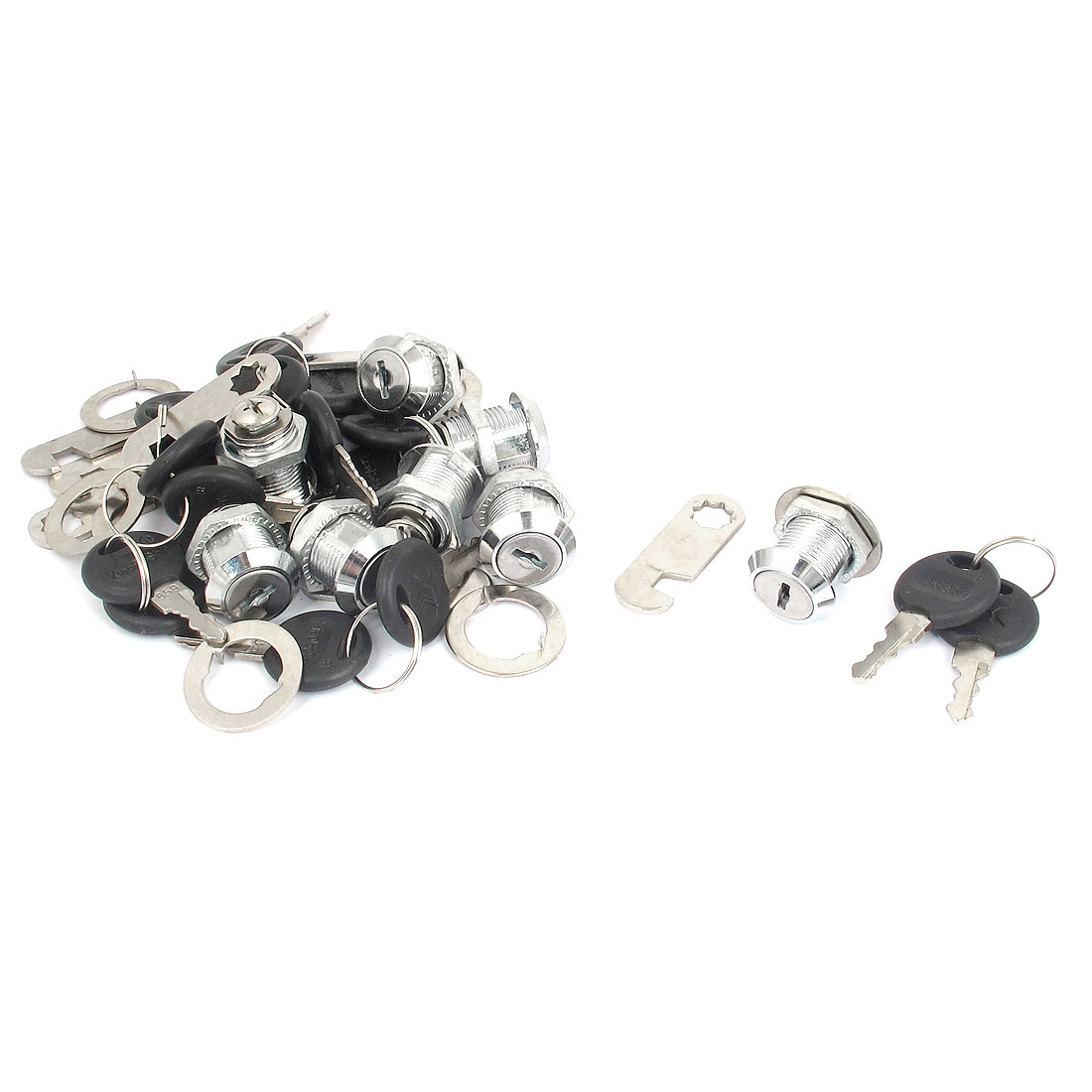 Mailbox Cabinets Drawer Locker 18mm Thread Shaft Security Metal Round Head Cam Lock w Keys 8pcs