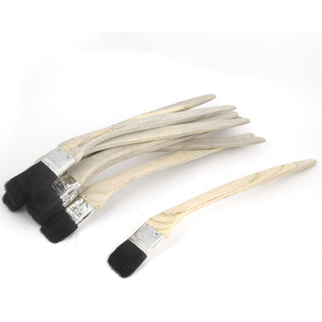 "10pcs 1.5"" Width Bent Wooden Grip Paint Bristle Brush DIY Wall Decorating Painting Tool"