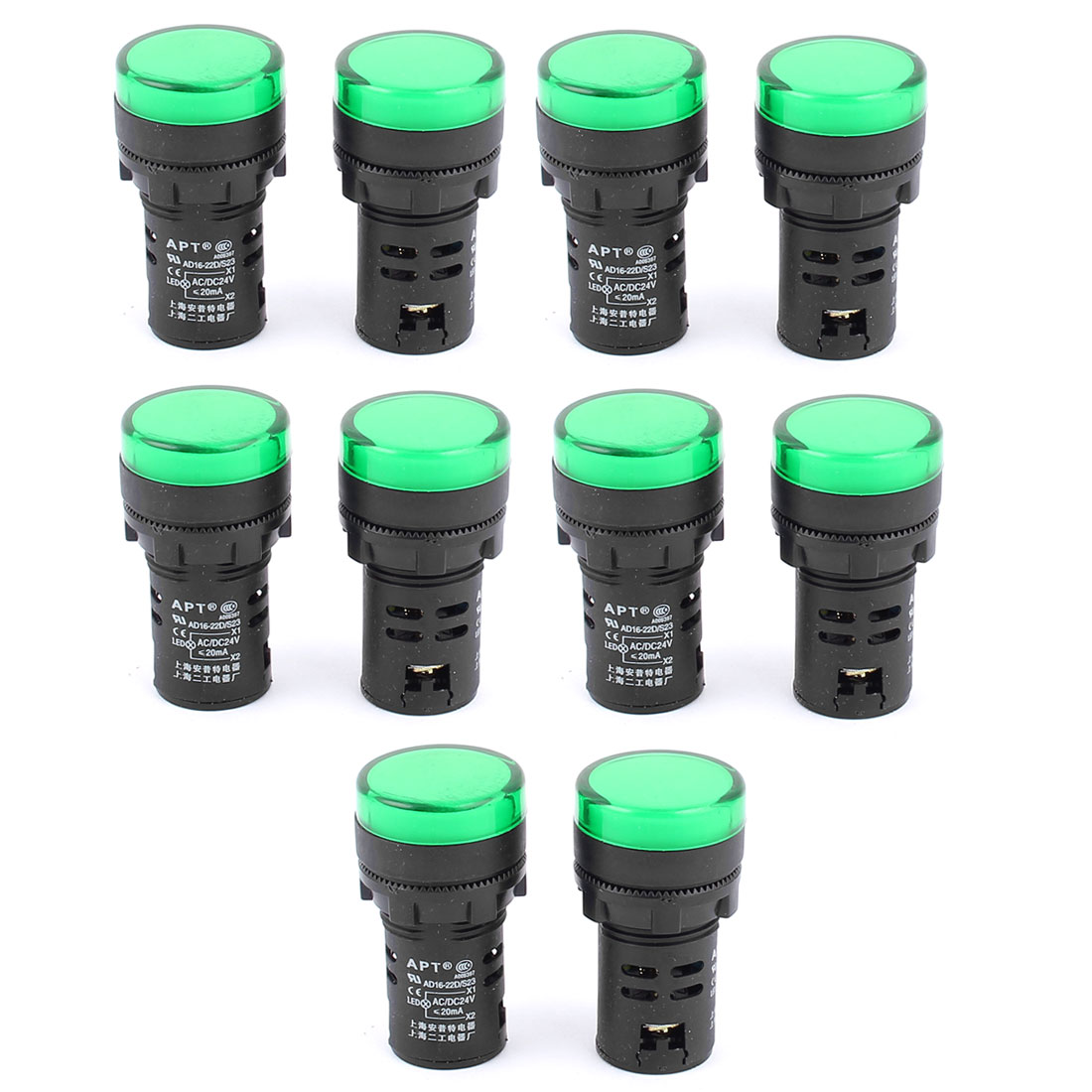 10pcs 21mm Mounting Dia Green LED Indicator Pilot Signal Light Lamp Bulbs AC 24V 20mA