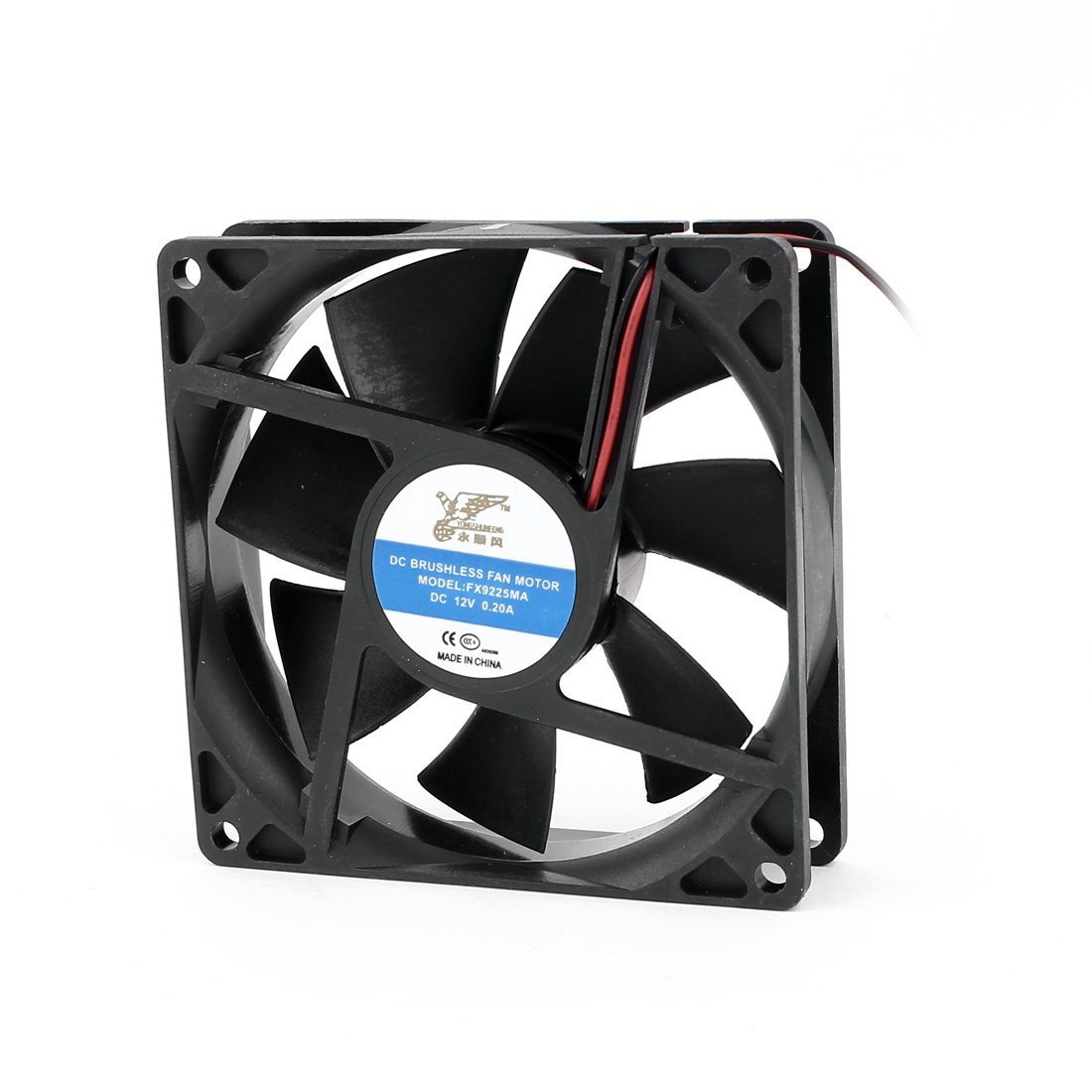 DC 12V 0.20A Black Plastic 2 Terminal Connector PC CPU Computer Cooling Cooler Square Fan 92mmx92mmx25mm