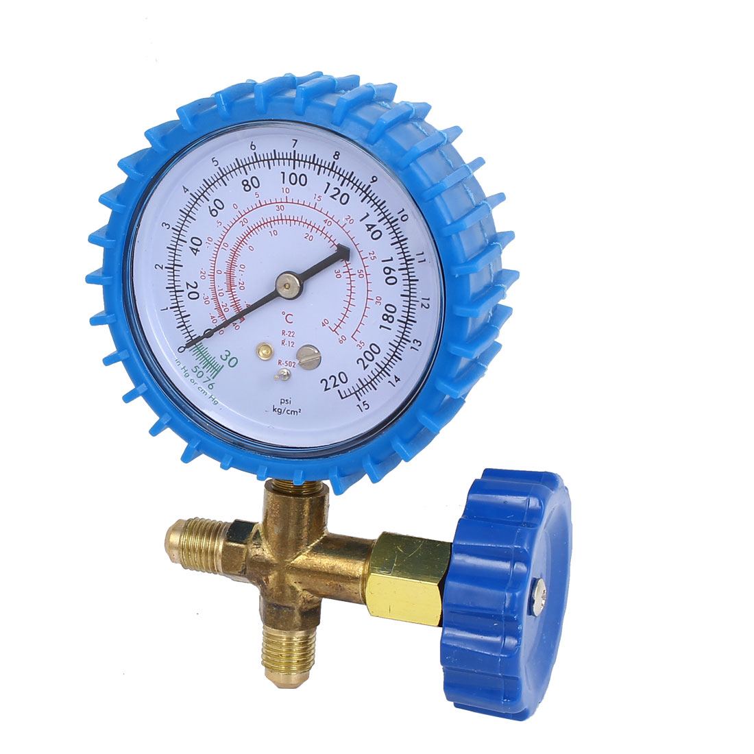 CT-466 1/4BSP Male Thread 0-220PSI Single Manifold Gauge Valve Blue for Air Conditioner