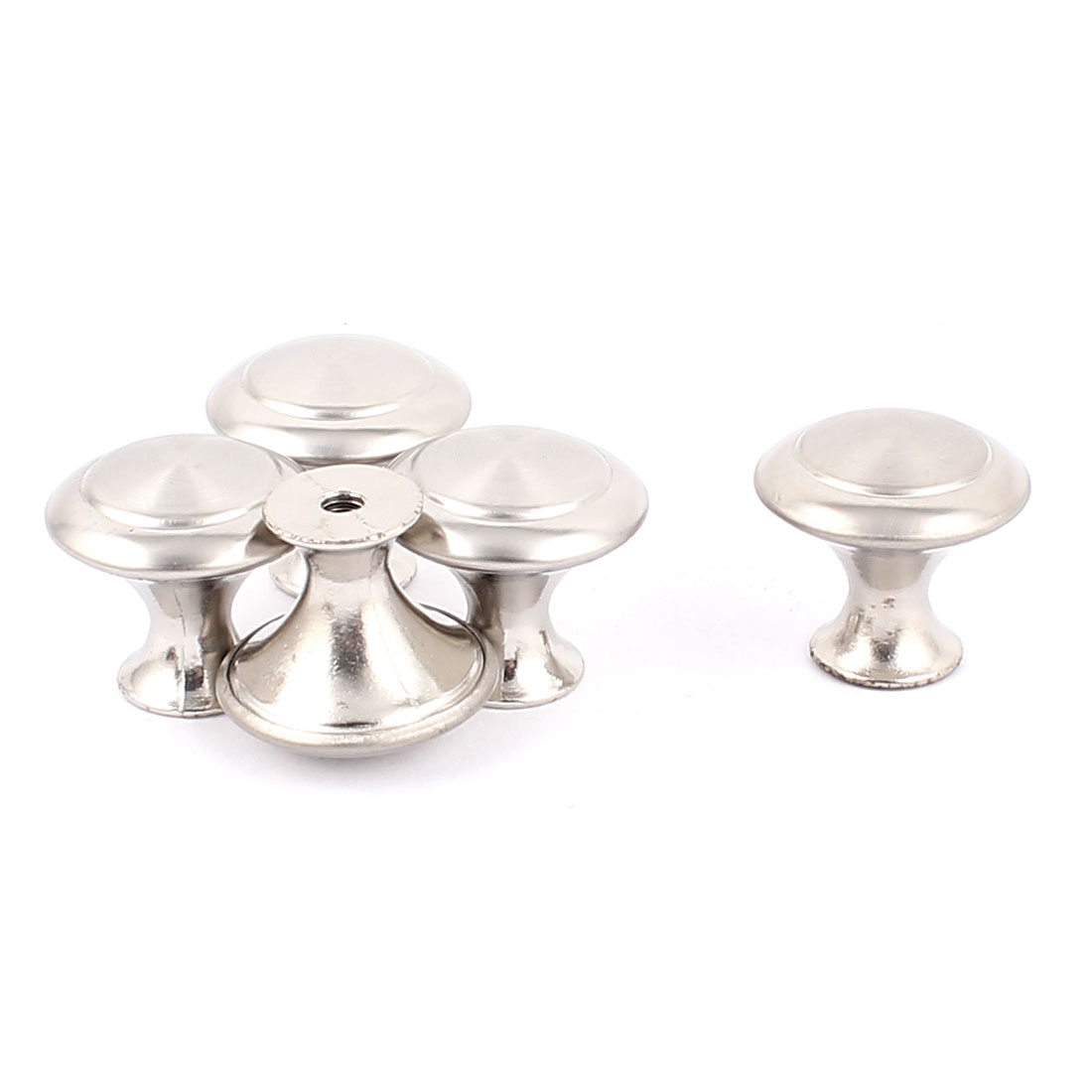 Cabinet Drawer Cupboard Closet Round Metal Pull Knob Handle Silver Tone 5Pcs