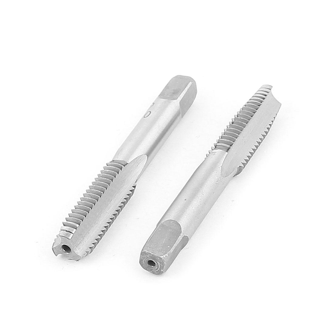 M10 3 Flutes Straight Shank Threading Tool Metric HSS Hand Plug Tap 2Pcs