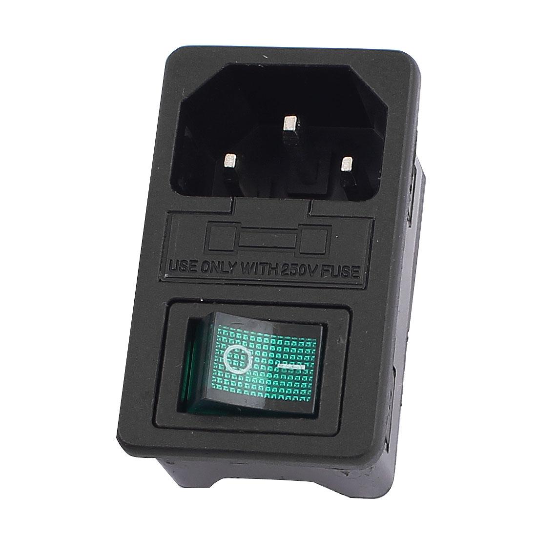 AC 250V 10A Green Lamp Rocker Switch Fuse Holder IEC320 C14 Inlet Power Socket