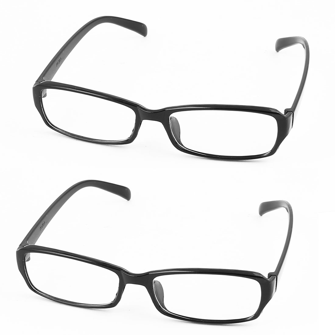 Rectangle Lens Full Frame Eyewear Plain Glasses Spectacles Black Clear 2Pcs
