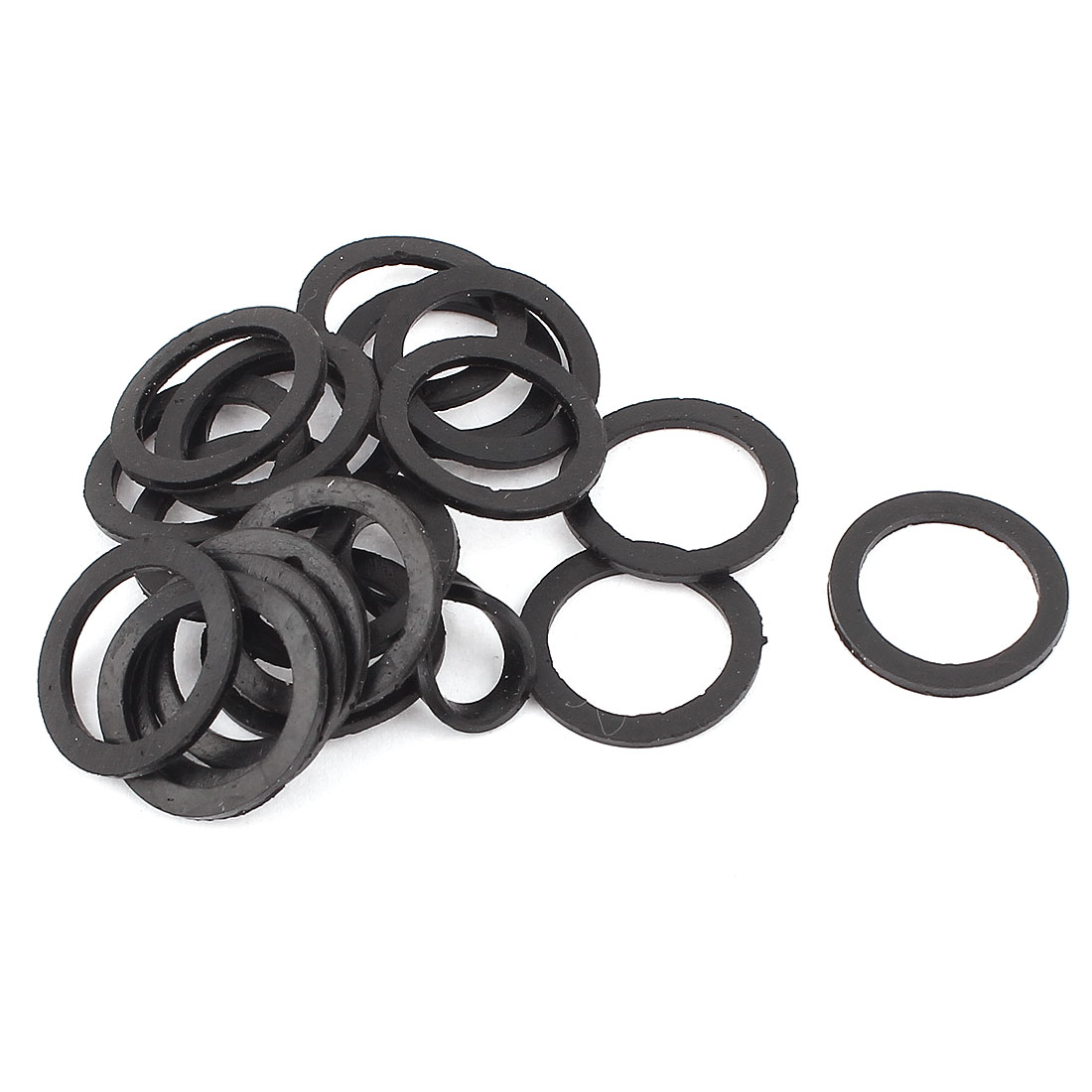 20mm x 15mm x 1mm Rubber O-Ring Hose Gasket Sealing Flat Washer Black 20Pcs for PG7 Cable Gland