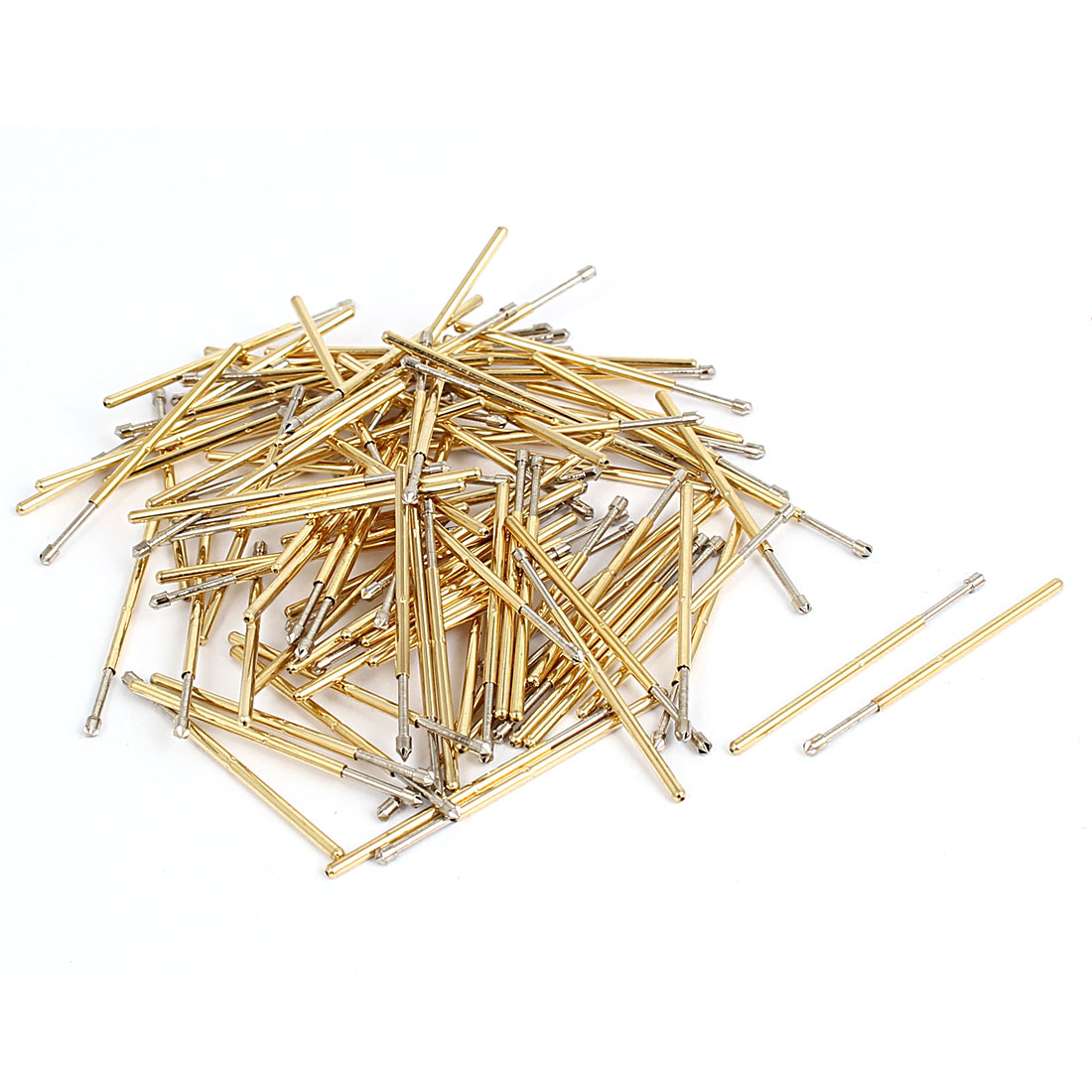 P100LM 33mm Length 4-Point Crown Tip Spring Loaded Contact Test Probe Pin 100Pcs