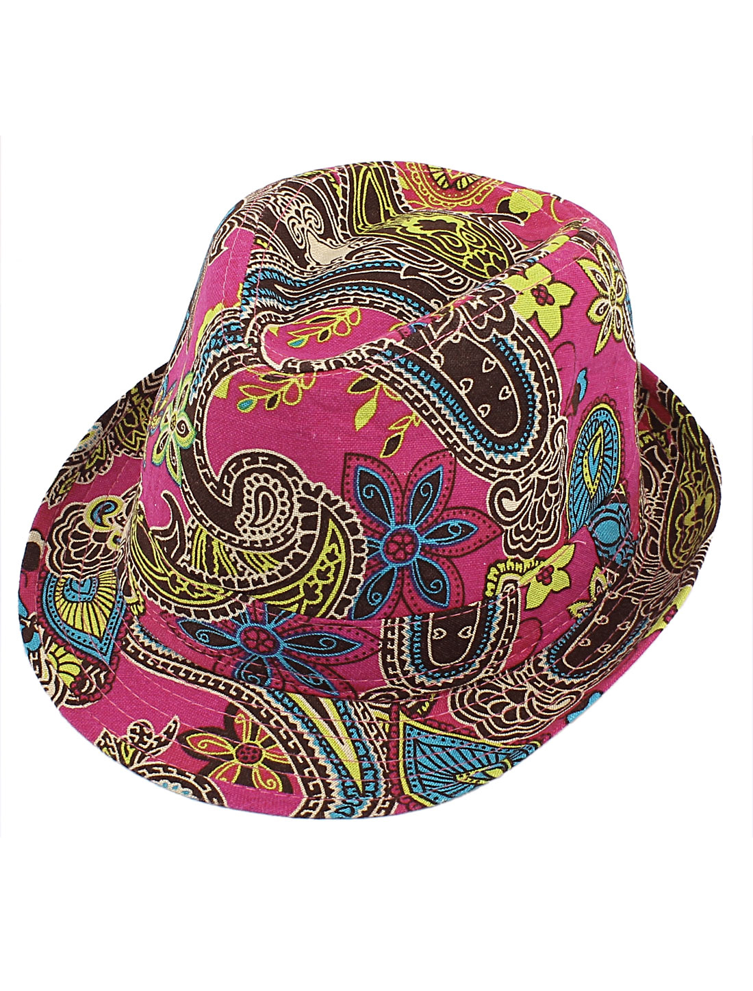 Men Women Unisex Flower Paisley Pattern Fedora Short Brim Cap Sun Hat Fuchsia