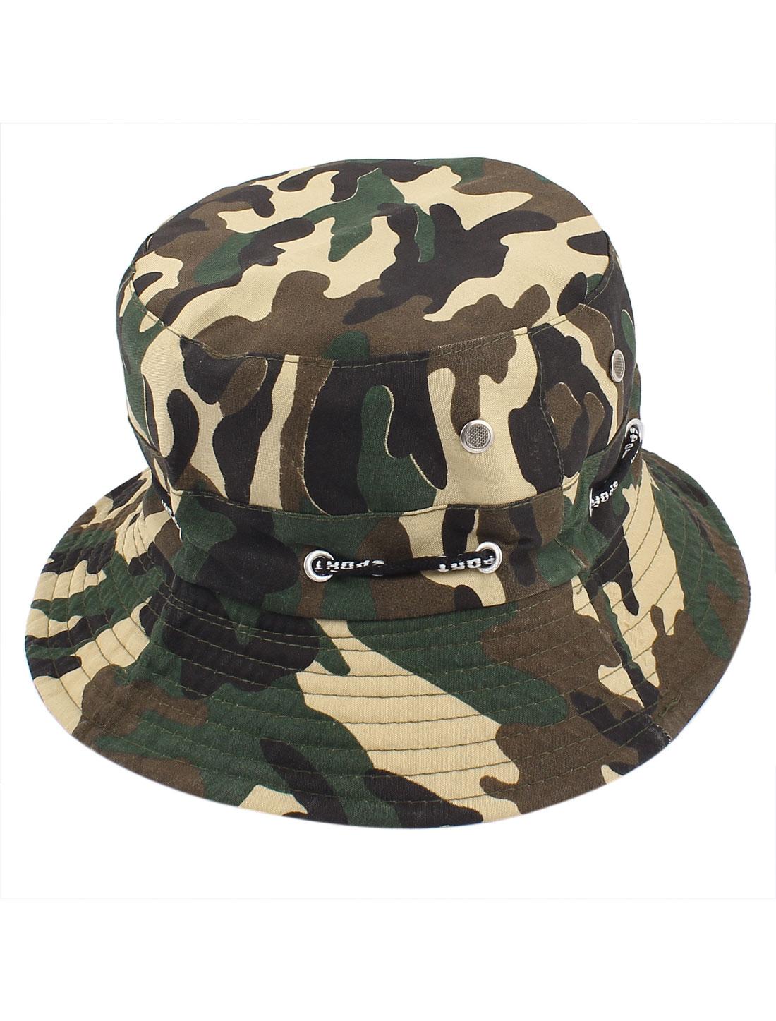 Men Women Unisex Camouflage Pattern Adjustable Strap Outdoor Fishing Bucket Cap Hat Army Green