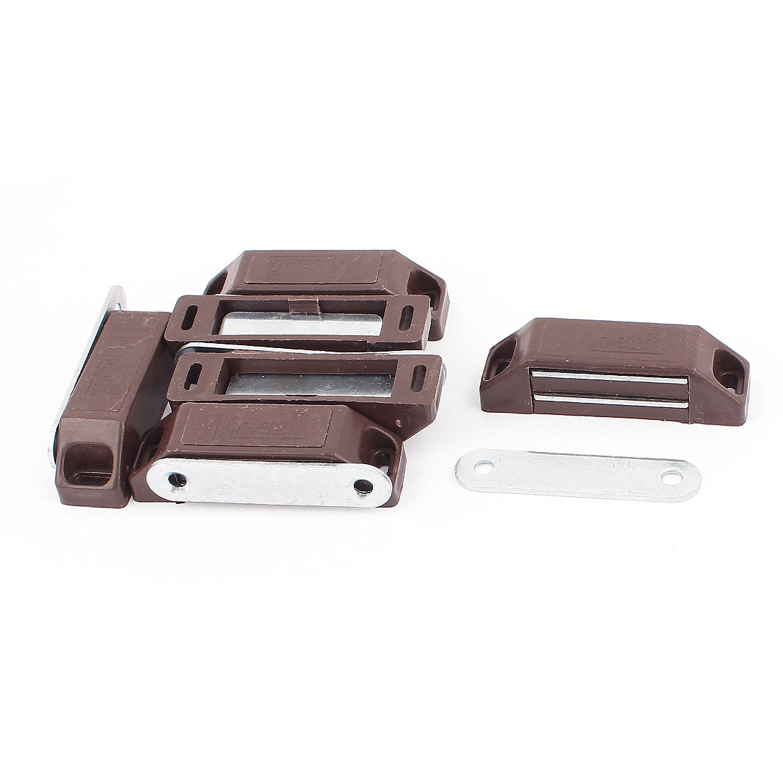 60mm x 16mm Door Cupboard Cabinet Wardrobe Magnetic Latch Catch Brown 6Pcs