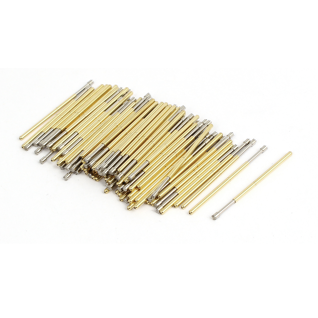 P100H 33mm Long Crown Tip Spring Loaded Contact Test Probe Pin Gold Tone 100Pcs
