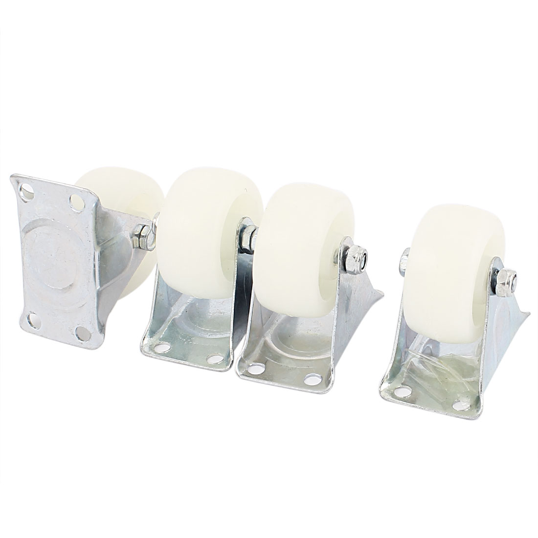 Shopping Trolley Rectangle Metal Top Plate Fixed Caster Wheel White 4Pcs