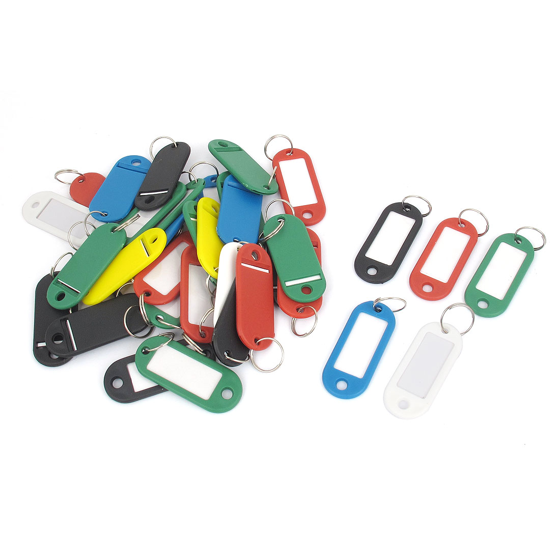 41pcs Assorted Color Plastic Luggage Fobs ID Label Name Key Badge Clip Holder Keyring