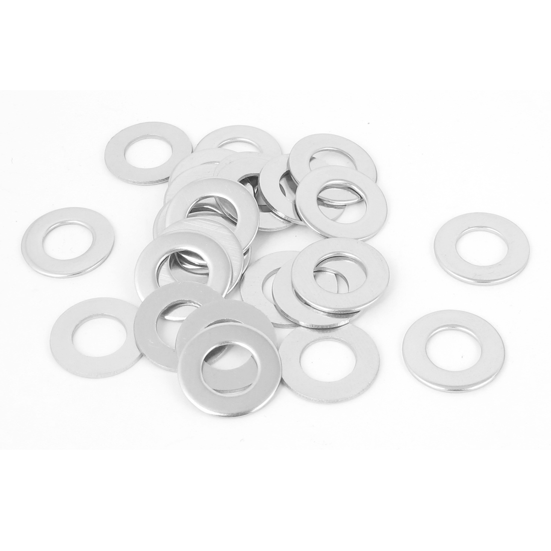 25pcs M8 x 16mm x 1mm Stainless Steel Flat Washer Plain Spacer Gasket Silver Tone