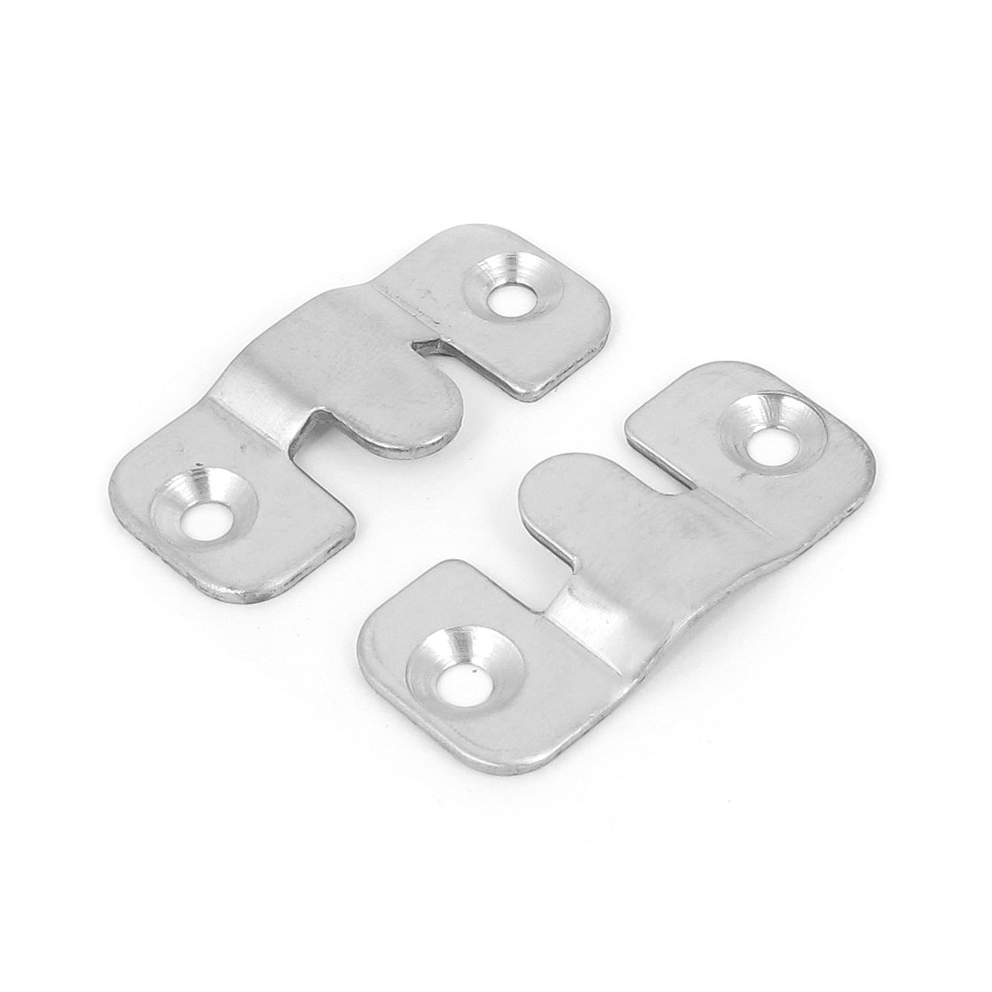 2pcs 43mm x 18mm Silver Tone Stainless Steel Wall Mounted Photo Frame Hanging Hanger Hook Plates