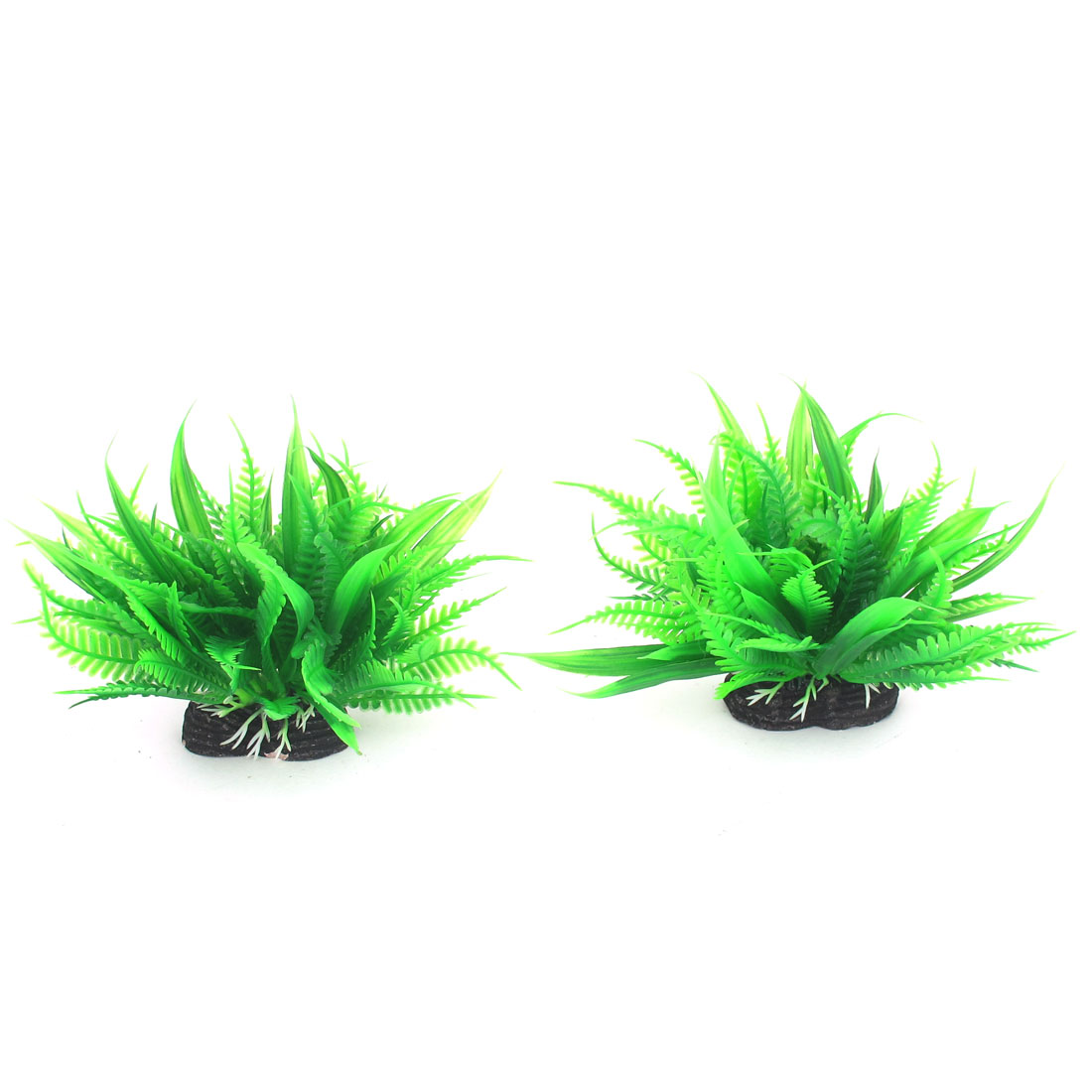 2pcs Green Plastic Emulational Aquarium Plant Aquatic Grass Decor for Fishbowl Fish Tank