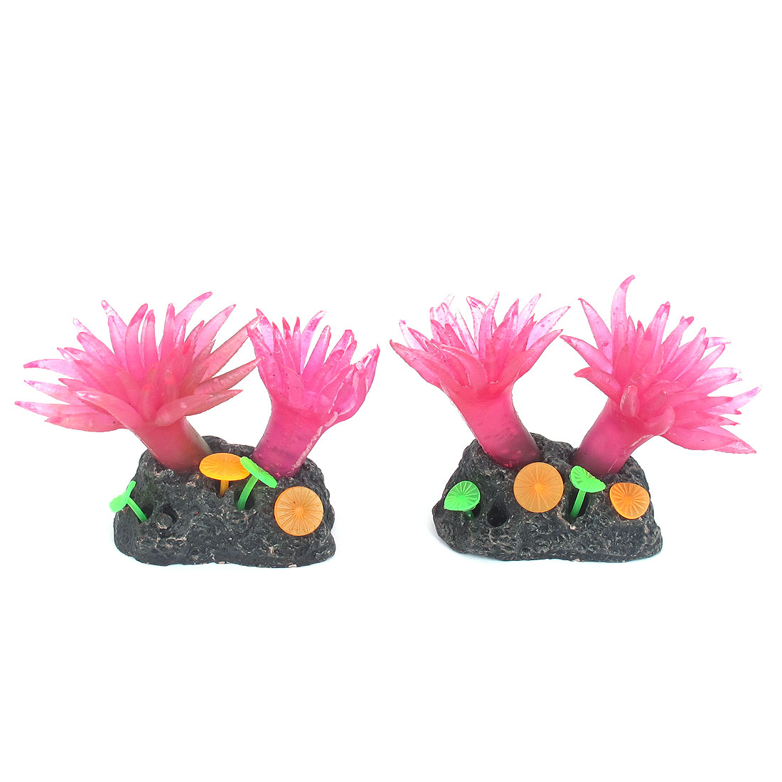 Fish Tank Fishbowl Landscaping Silicone Emulational Aquarium Coral Ornament Aquatic Plant Fuchsia 2pcs