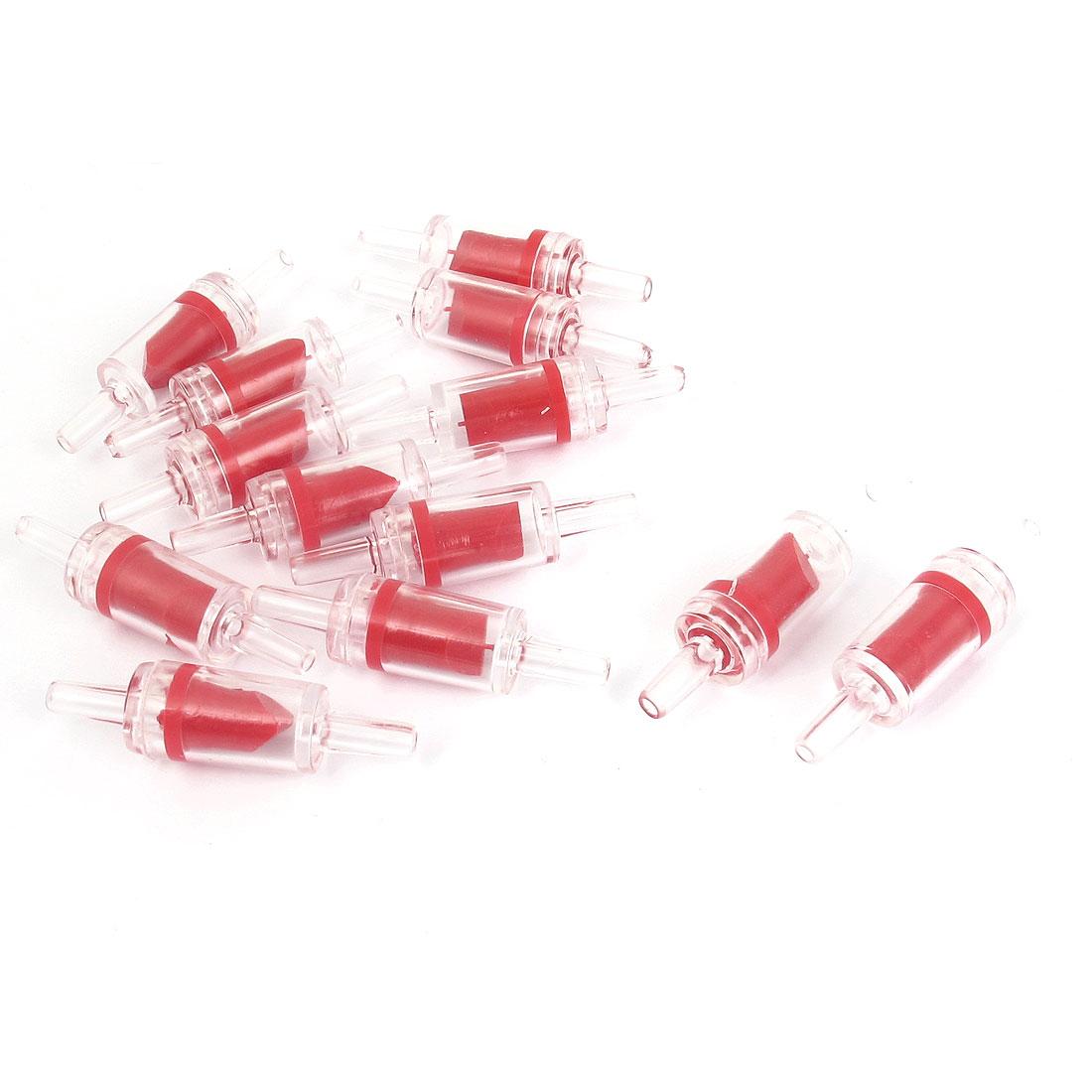 13pcs Red Clear Plastic Air Pump Outlet Check Valves for Aquarium Fishbowl