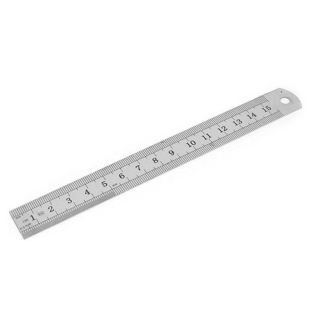 Metal 15cm 6 Inches Scale Range Double Sides Measure Measuring Straight Ruler Tool