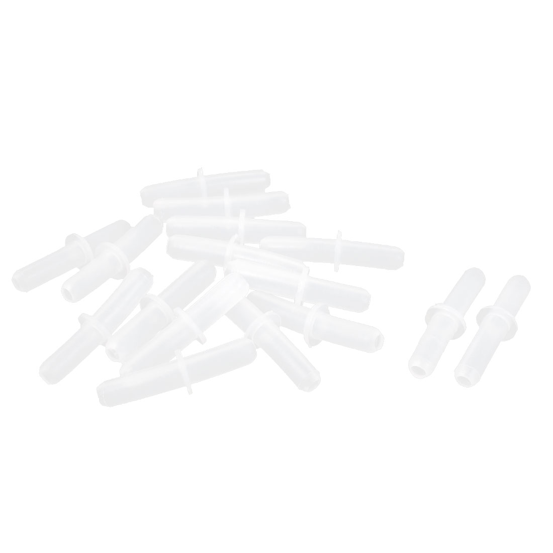 16pcs Clear White Plastic Double Ways Straight Air Tube Connector Adapter Aquarium Tubing Coupler
