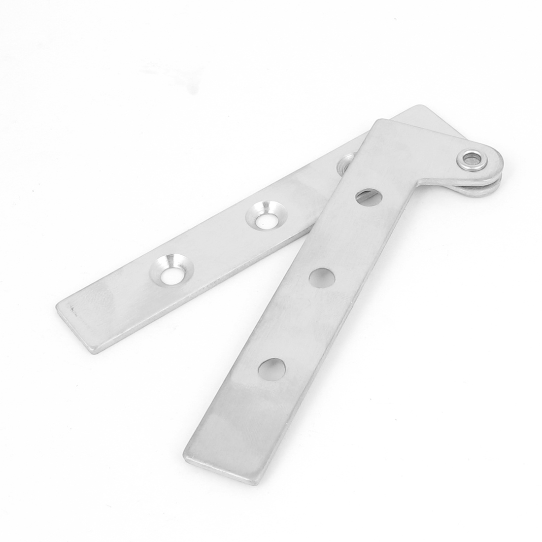 100mm Long Silver Tone Metal 360 Degree Rotatable Screws Fixed Door Pivot Hinge