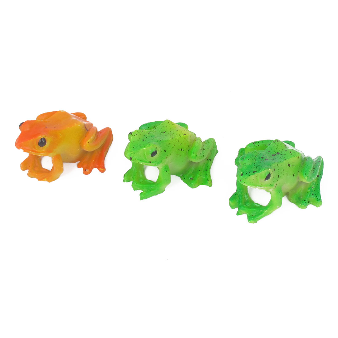 Aquarium Fish Tank Aquascaping Plastic Artifical Frog Design Decoration Orange Green 3pcs