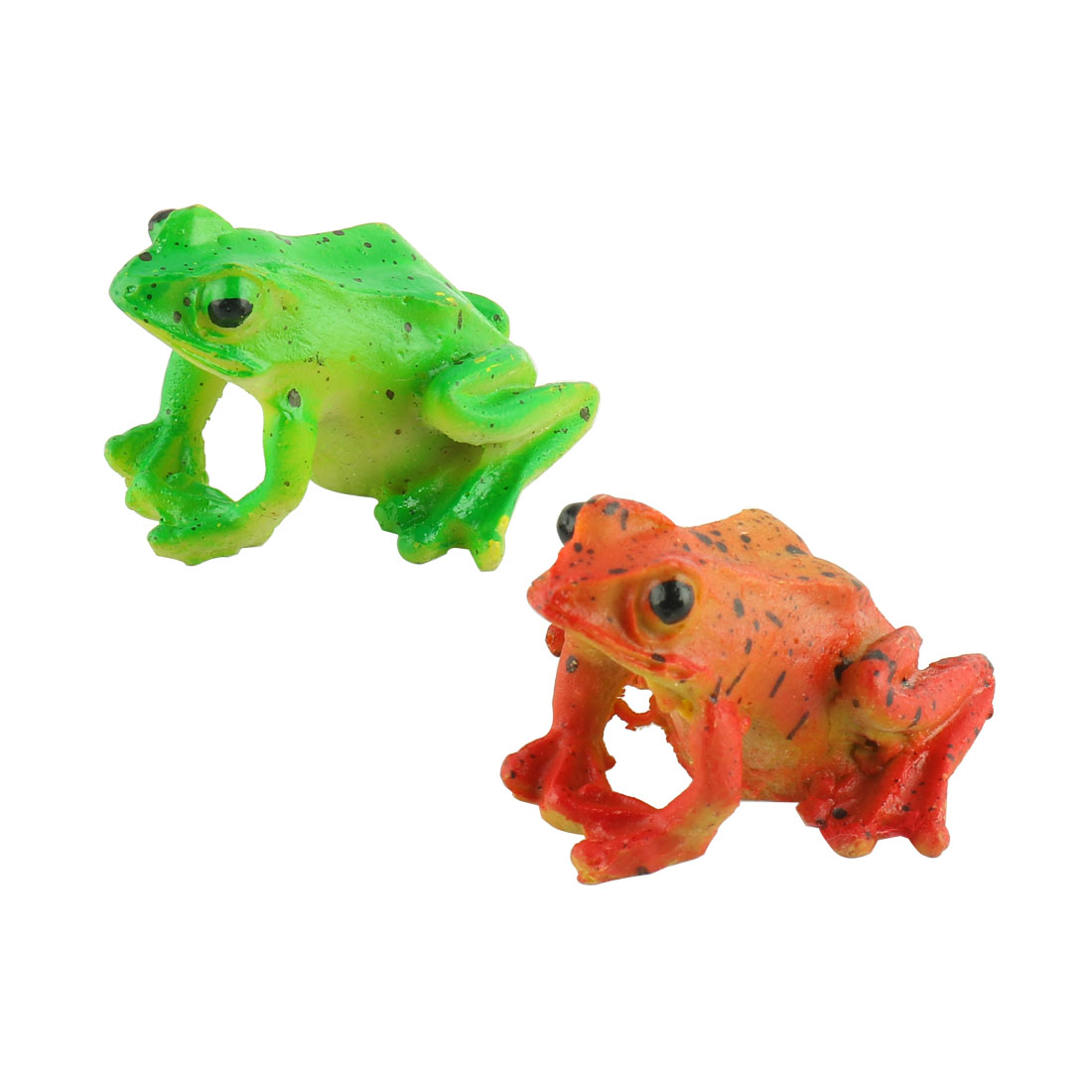 Aquarium Fish Tank Aquascaping Plastic Emulational Frog Shaped Decoration Orange Green 2pcs