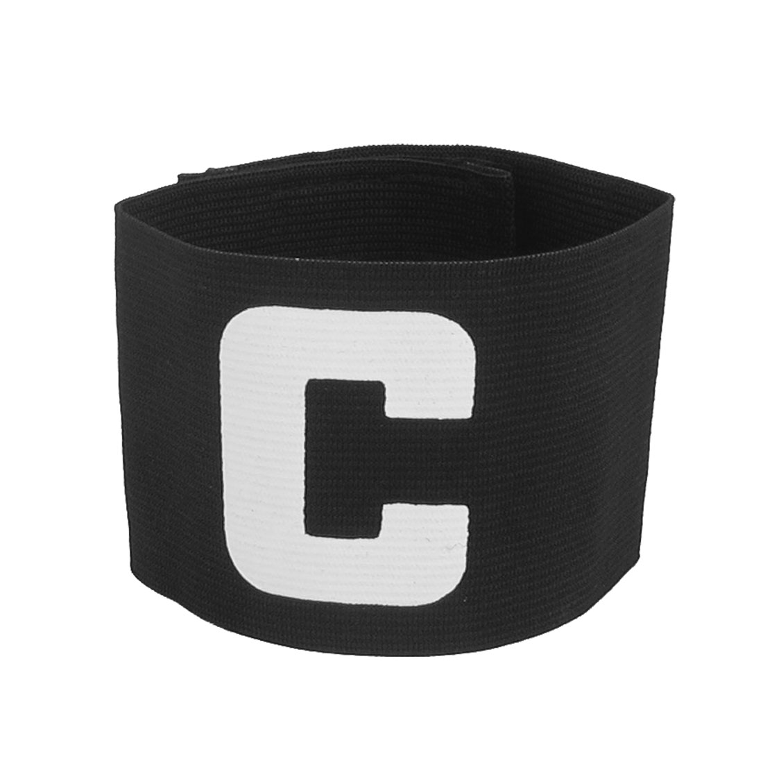 Hook Loop Fastener Letter C Printed Stretchy Football Soccer Sports Captain Armband Sleeve Black