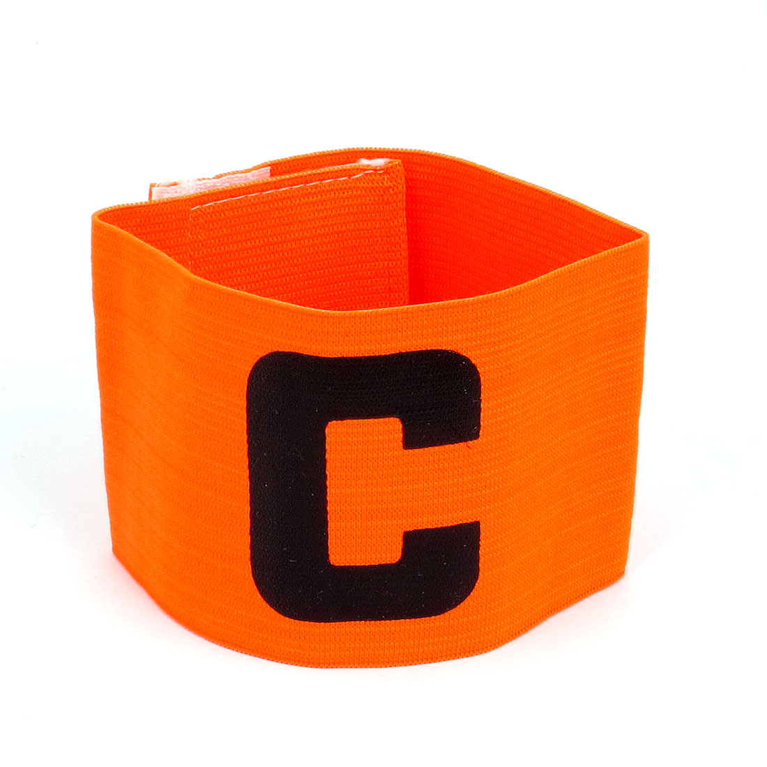 Hook Loop Fastener Letter C Printed Elastic Football Soccer Sports Captain Armband Orange