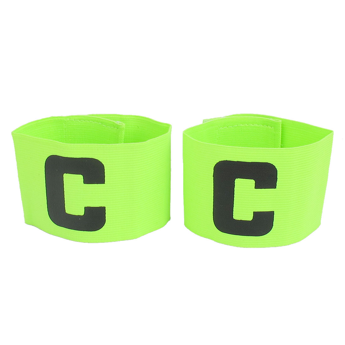 C Printed Elastic Football Tension Soccer Leader Player Captain Armband Yellow Green 2pcs