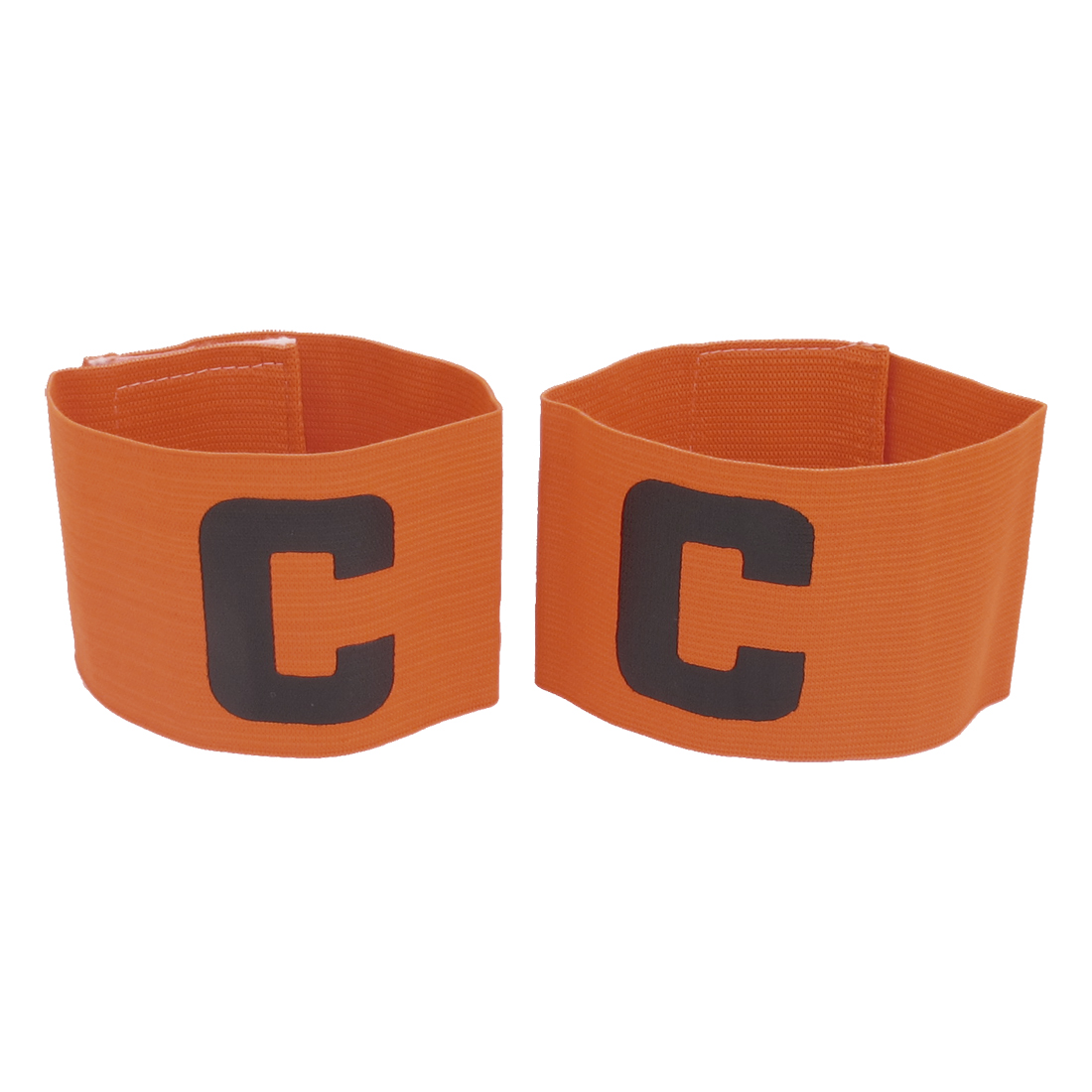 Hook Loop Fastener Stretchy Team Football Tension Match Captain Armband Badge Orange 2pcs