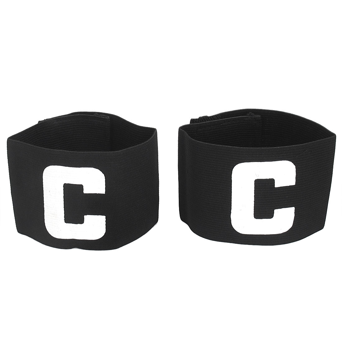 Hook Loop Closure Stretchy Team Football Tension Captain Armband Badge Black 2pcs