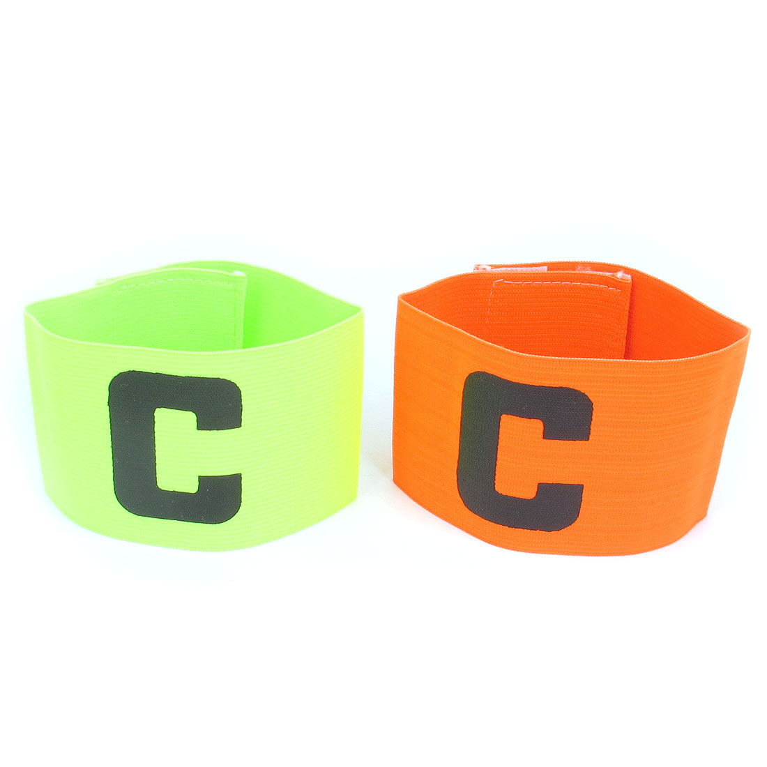 C Printed Elastic Football Tension Soccer Match Player Captain Armband Orange Yellow Green 2pcs