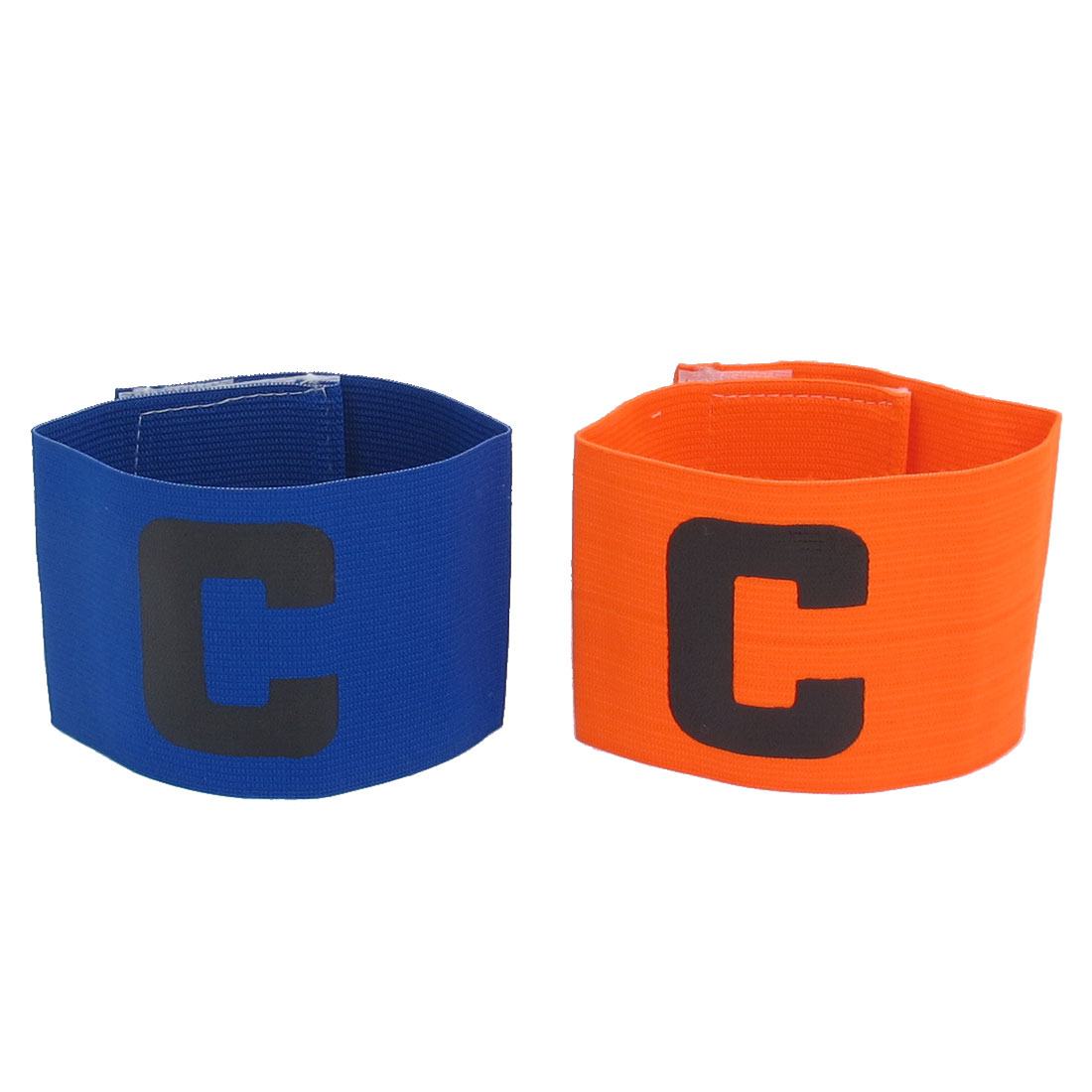 C Printed Stretchy Football Tension Soccer Match Player Captain Armband Orange Blue 2pcs