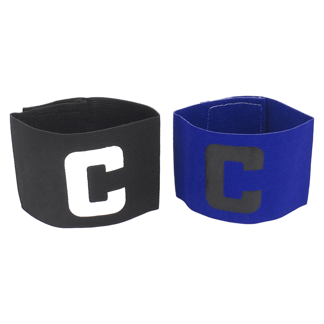 C Printed Stretchy Football Tension Soccer Match Player Captain Armband Black Blue 2pcs