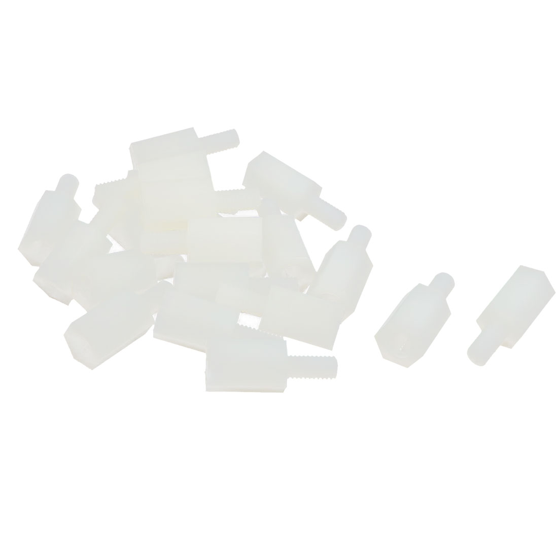 20pcs M3 9+6mm Male Female Thread Beige Nylon Hex Hexagonal Nut PCB Standoff Spacer Support