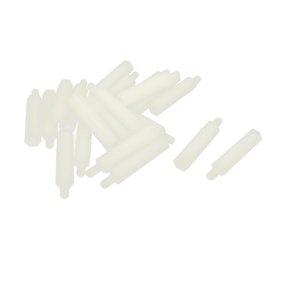 20pcs M3 25+6mm Male Female Thread Beige Nylon Hex Hexagonal Nut Standoff Screw Spacer Pillar