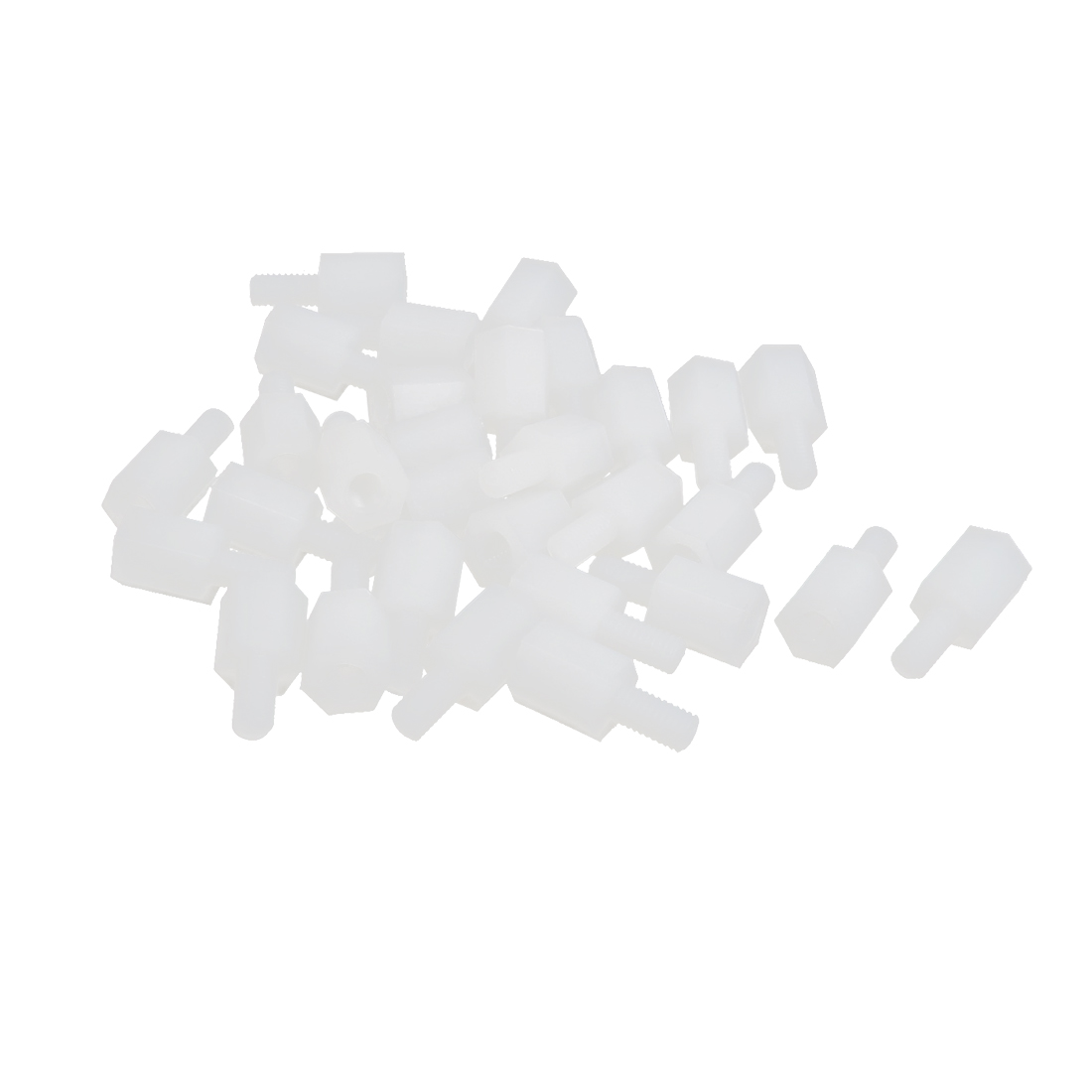 30pcs M3 7+6mm Male Female Thread Beige Nylon Hex Hexagonal Nut Standoff Screw Spacer Support