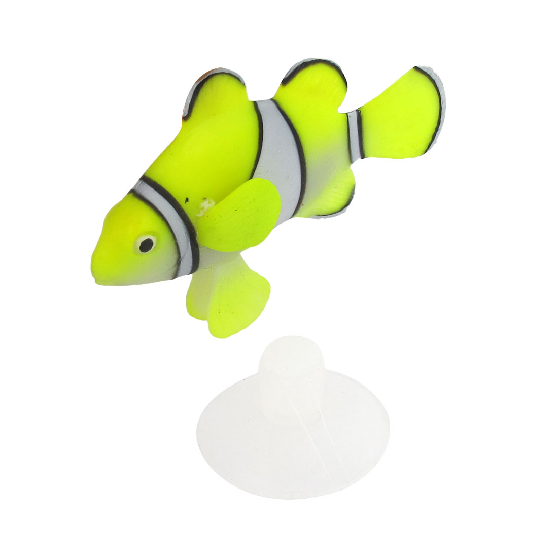 Yellow White Silicone Plastic Artificial Underwater Floating Clownfish Decor w Suction Cup for Fish Tank Aquarium