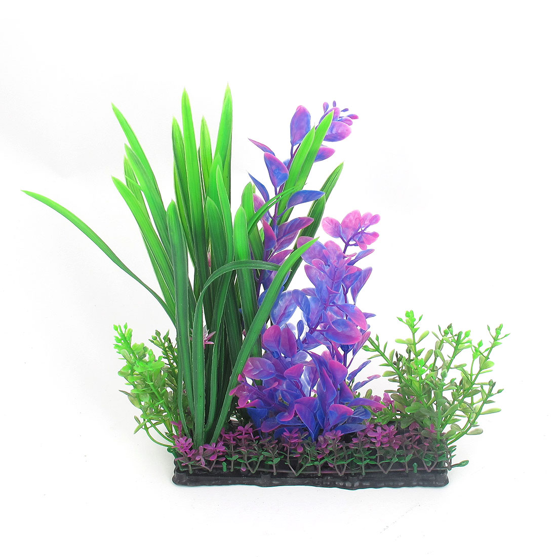 "8.7"" Height Multicolour Plastic Artificial Ornament Rectangle Plant for Aquarium Fish Tank"