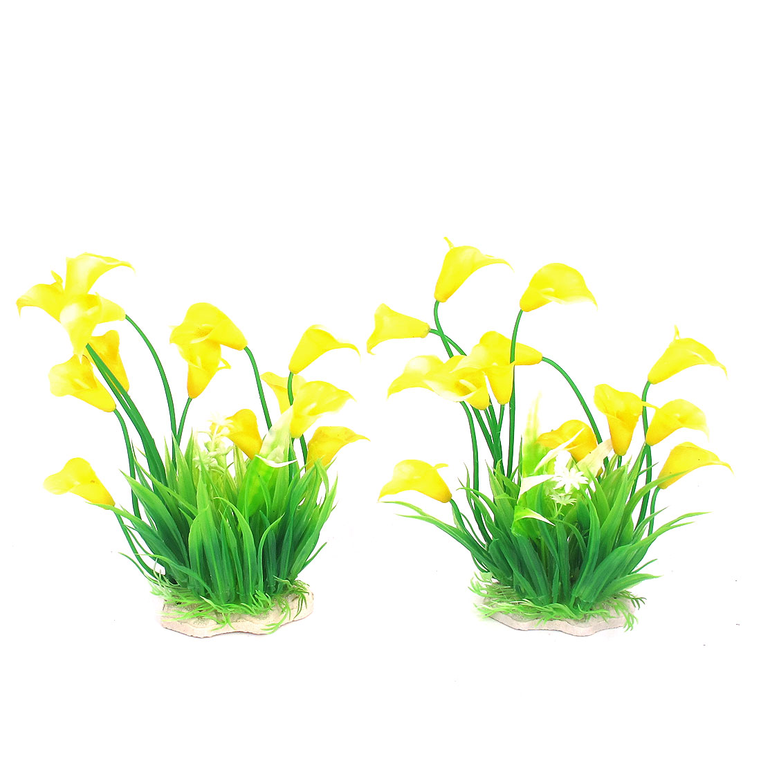 2 Pcs Green Yellow Plastic Ceramic Base Emulational Ornament Flower Plant for Aquarium Fishbowl