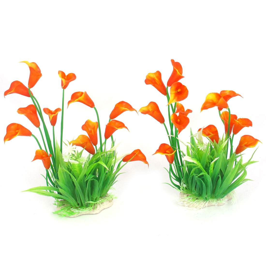 2 Pcs Green Orange Plastic Ceramic Base Artificial Flower Ornament Plant for Aquarium Fishbowl