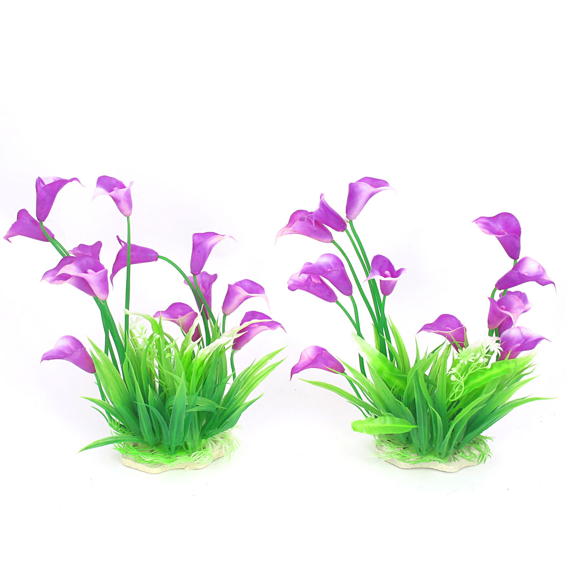 2 Pcs Green Purple Ceramic Base Plastic Artificial Decor Aquascaping Underwater Plant Flower for Aquarium Fish Tank