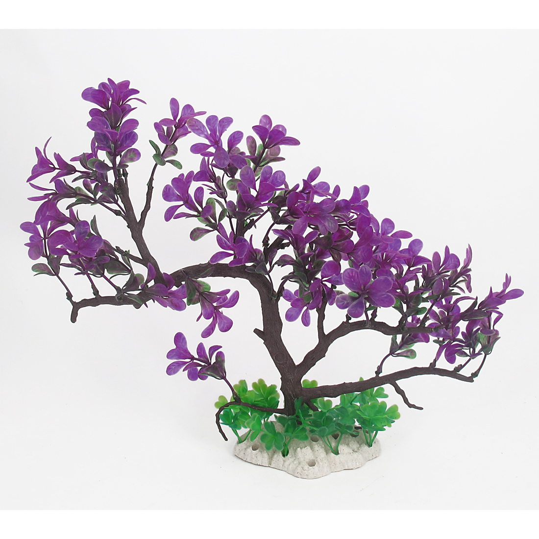 "12.4"" Height Green Purple Ceramic Base Plastic Emulational Decor Aquascaping Tree Shaped Grasses Plant for Fish Tank Aquarium"