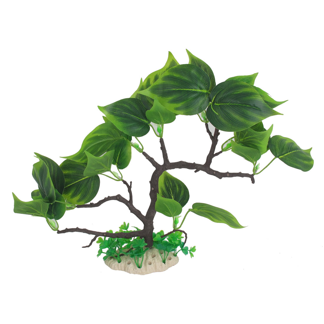 "11.9"" Height Green Plastic Tree Shaped Artificial Emulational Ornament Acquascaping Grasses Plant for Aquarium Fish Tank"