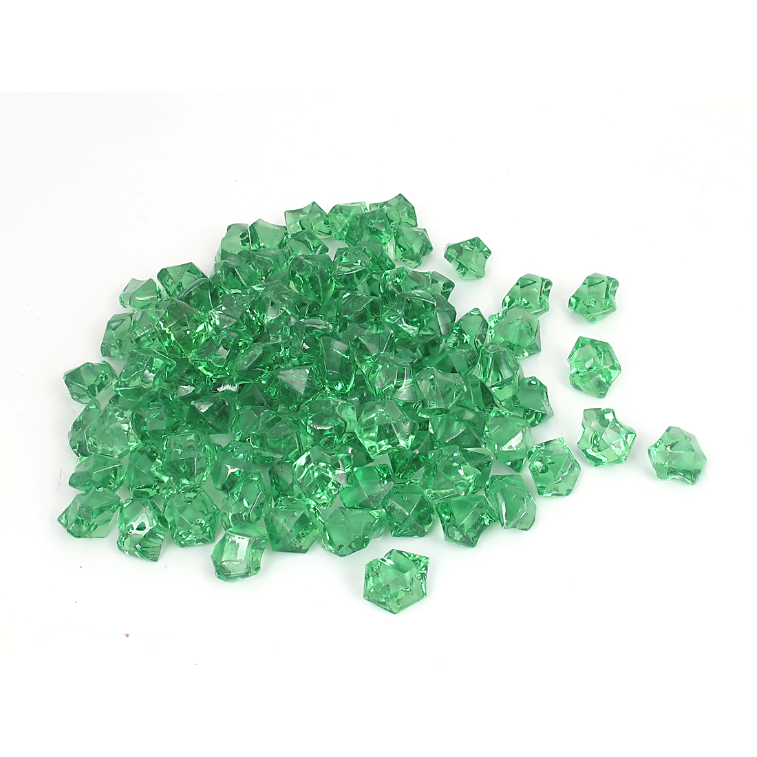 111 Pcs 2.5cm Length Green Plastic Atificial Polygon Decoration Aquarium Plastic Crystal Stones for Fish Tank