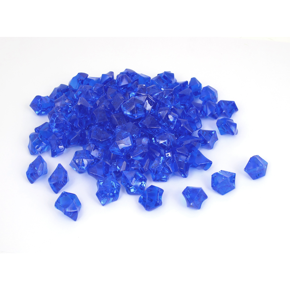 111 Pcs 2.5cm Length Blue Plastic Atificial Polygon Decor Aquarium Plastic Crystal Stones for Fish Tank Fishbowl